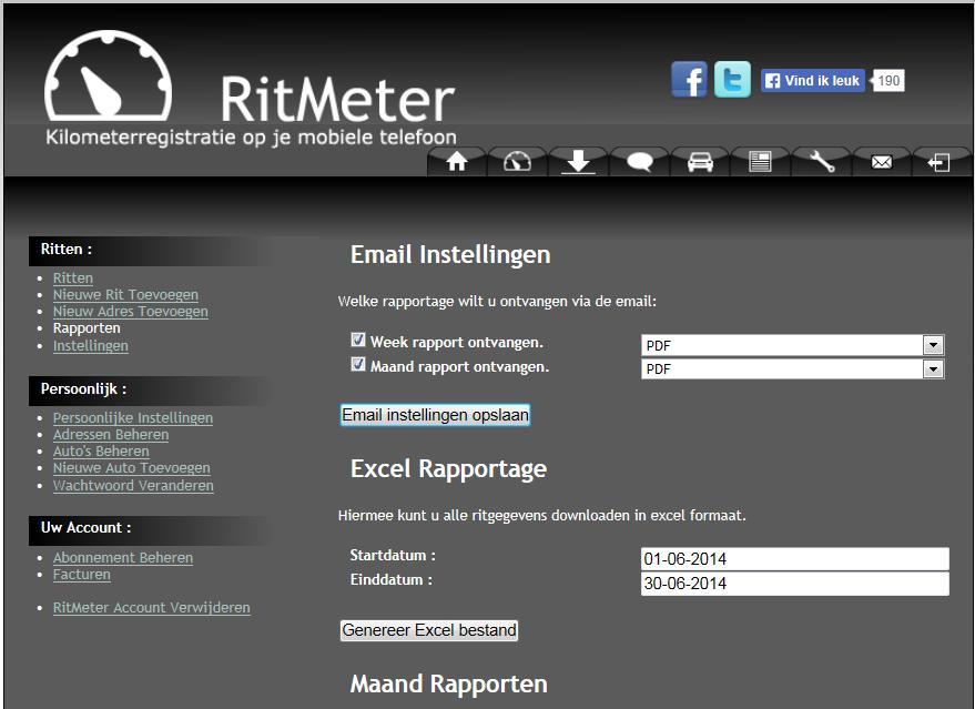 RitMeter Rapport Instellingen op www.ritmeter.nl