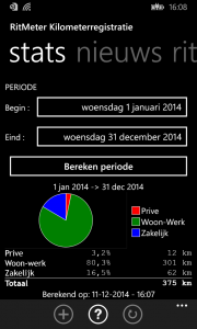 RitMeter tabblad statistieken voor Windowns Phone 8.1